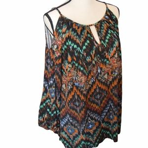 Cupio XL Cold Shoulder Flowy Abstract Print Top